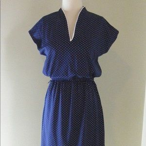 Vintage 70s Navy and White Polka Dot Day Dress